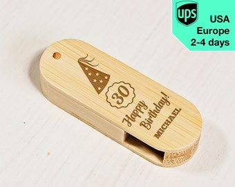 Happy Birthday - Personalised USB flash drive, Laser Engraved Pendrive