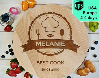 Best Cook (woman) - Personalised Rotating Serving Board, Laser Engraved Pizza Board