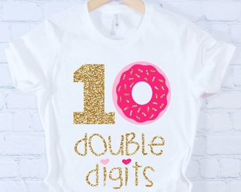 62812eb1 CUSTOMIZABLE Colors double digits girls 10th birthday shirt tenth birthday  shirt glitter cupcake cupcake birthday gift for girl preteen