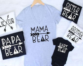 46b58684 ALL SIZES Customizable Colors mama bear baby bear lil cub papa bear sister  brother mommy daddy family matching set