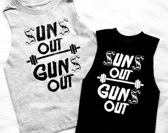 Father Son matching muscle tee or bodysuit  U Pick Colors Suns Out Guns Out funny muscle tee toddler boys trendy baby stylish summer shirts
