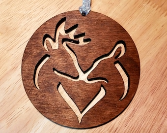 Wooden Doe and Buck Deer and heart Christmas Ornament