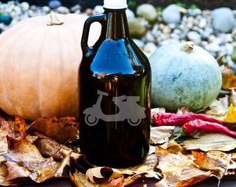 Growler with Italian Scooter Etching - 64oz for Beer, Wine, Mead, or Whiskey