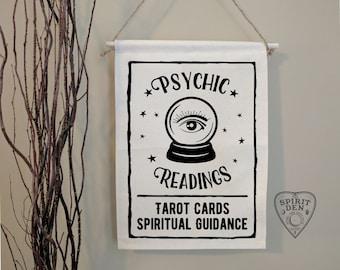 Psychic Readings Crystal Ball Tarot Cards Spiritual Guidance   Cotton Canvas Wall Banner   Tarot Readings   Tarot Wall Art   Witchy Decor