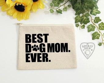 Best Dog Mom Ever Canvas Zipper Bag   Makeup Bag   Cosmetic Bag   Dog Paw   Gift for Dog Lover   Pet Lover Gift   Dog Lover Gift   Dog Mom
