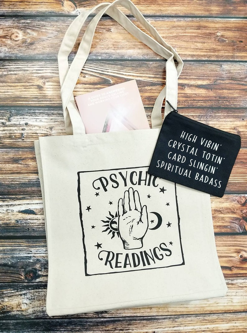 Psychic Medium Psychic Tote Bag New Age Tote Tarot Readings Witchy Accessories Psychic Readings Cotton Canvas Market Tote Bag