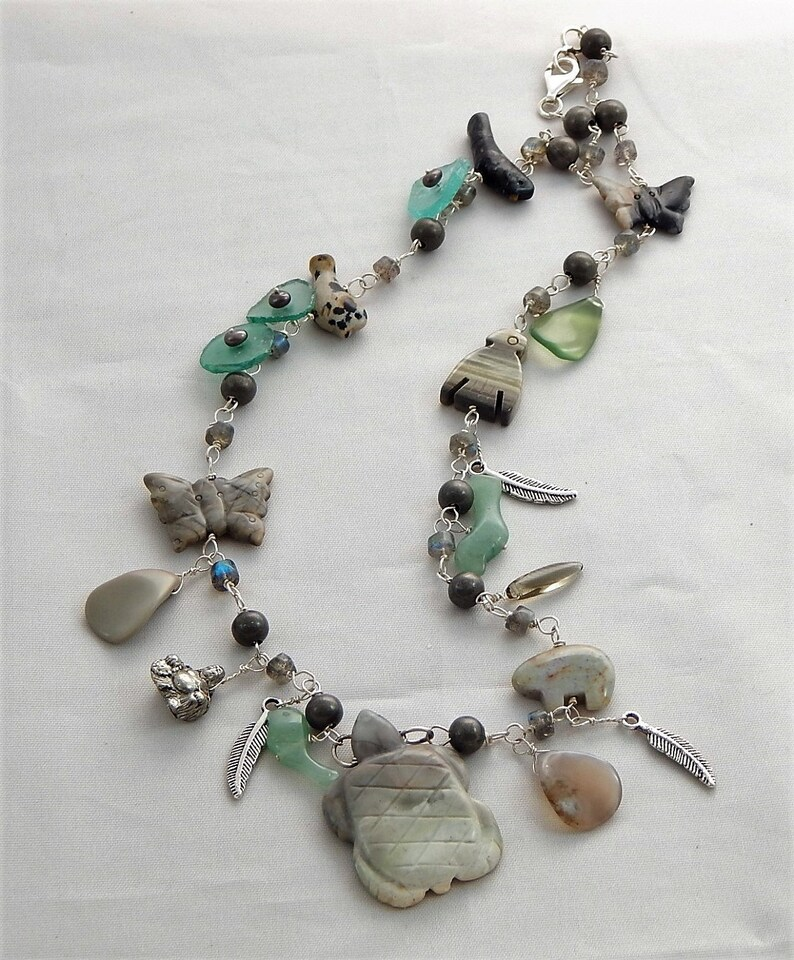 Semiprecious. Birds Feathers Roman Glass Turtle Focal Piece Necklace Sterling Silver Freshwater Pearls Labradorite Picasso Marble