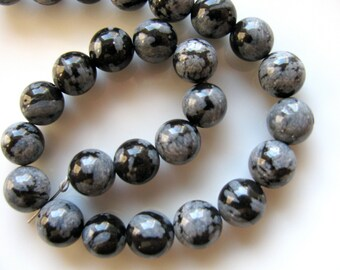Snowflake Obsidian beads, 26 beads, 8mm, gray, black, round beads, Jewelry supply B-756