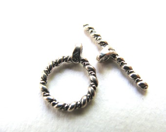 Toggle clasp, Sterling Silver, ring 12mm, toggle 23mm B-8038
