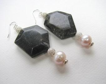 Earrings, drop earrings, Fresh Water Pearls. faceted Jasper, Sterling beads and findings B-3020