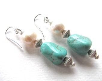 Earrings, drop earrings, Turquoise, Sterling beads and findings B-8018