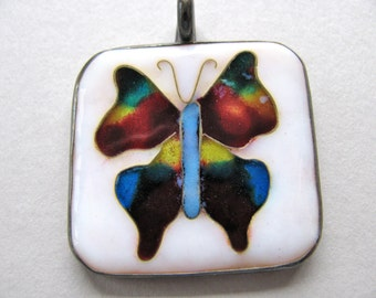 Cloisonne pendant, original handmade pendant, Sterling Silver