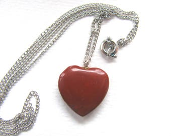 Necklace, Red Jasper heart, 18 inch, fine silver chain, vintage necklace B-6060