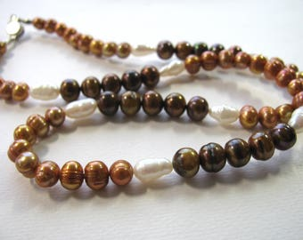 Pearl necklace, 21 inches long, Sterling clasp, Fresh Water Pearls B-6008