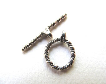 Toggle clasp, Sterling Silver, ring 12mm, toggle 20mm B-8036