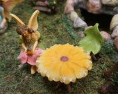 Fairy Garden Fairy Robin pink flower dress Fairy - Miniature Fairy Garden Supply Sitting fairy holding a bird