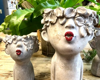 """Kissing Girl with Red Lips   Head Planter l Vase   Flower Pot l Small 7.5"""""""
