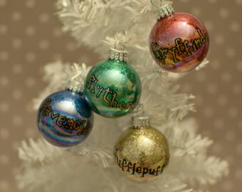 Harry Potter House Colors - Christmas Ornaments - Set of 4