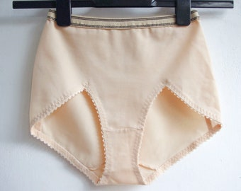 03517772263 High Waist Control Panties   Beige Panties Retro Vintage 80 s   High Cut  Lingerie Pin Up   Size 6   Small