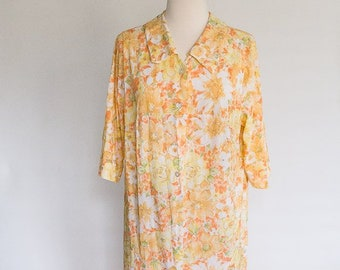 77099b19c6 Vintage 70s Orange Floral Sheer Maxi Shift Dress   Dress Robe