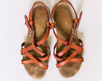 118e0642059c87 Bass Vintage Leather Women s Strappy SunJun Sandals Size 8 M