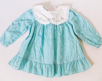 Vintage Toddler Size 2T Teal Flower Dress