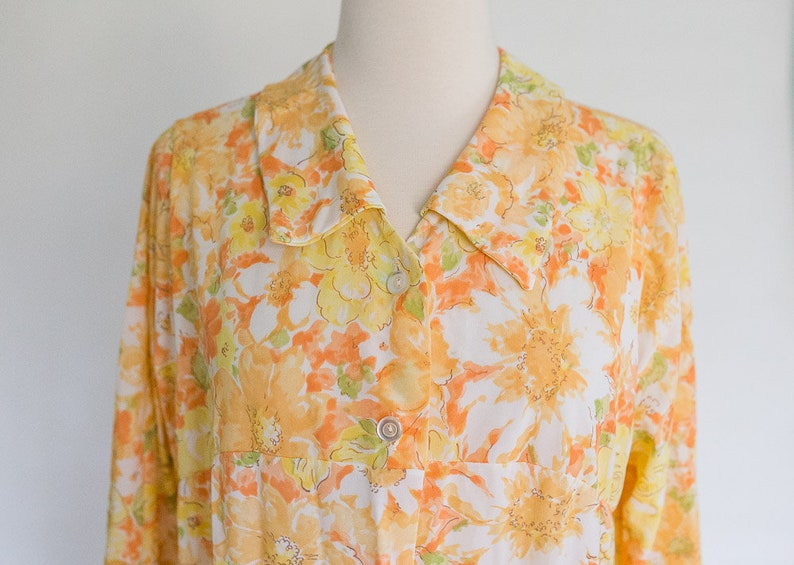 86d8b11717 Vintage 70s Orange Floral Sheer Maxi Shift Dress   Dress Robe