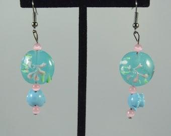 Pale Blue Rose Dangle Earrings
