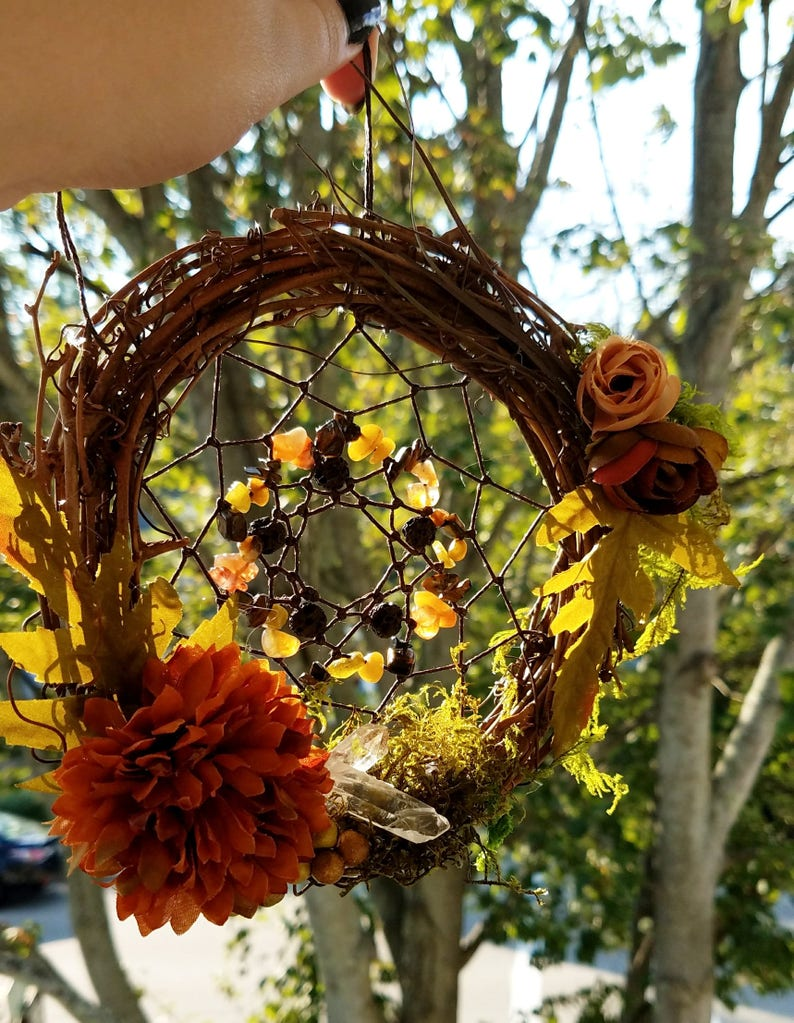 Fall Dream Catcher Crystals, Flowers, Moss, Wall Hang, Samhain Decoration,  Fall Dream Catcher, Wiccan Decor, Alter Decor, Crystal Healing