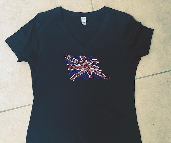 UK Flag Rhinestone//Diamanté Embellished T Shirt Gift  for Girls Union Jack