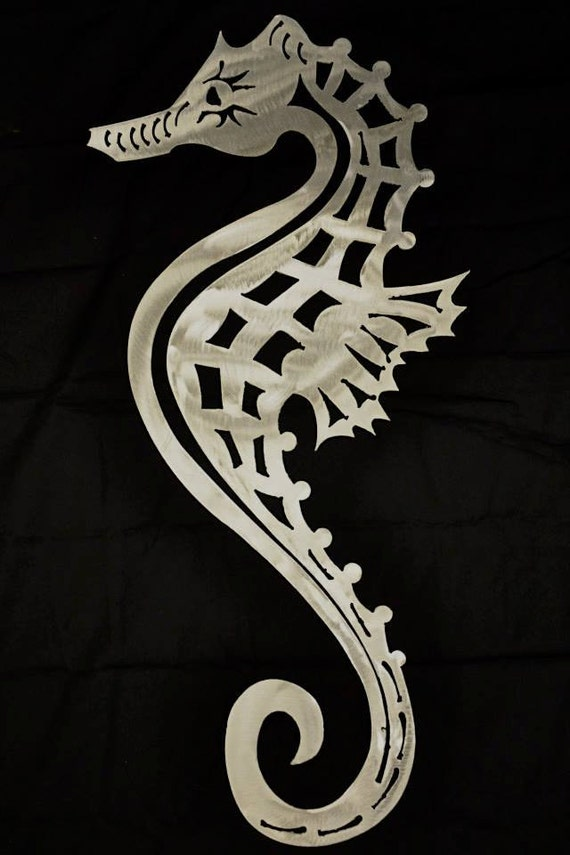 Seahorse Metal Art Wall Sculpture in Aluminum or Stainless