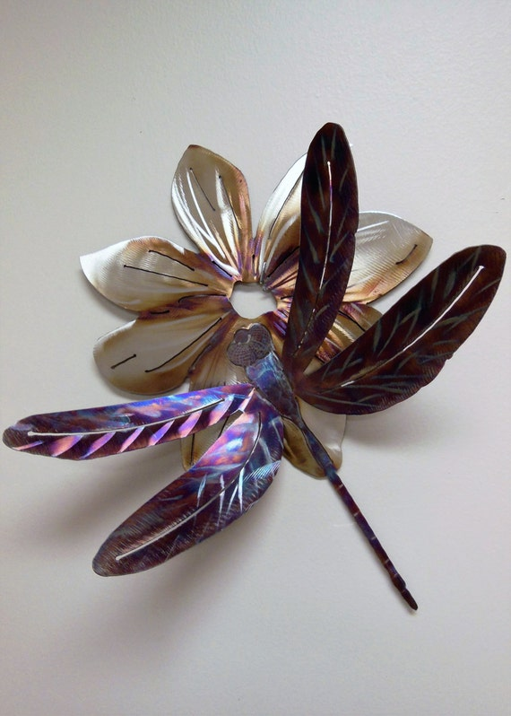 Dragonfly on Flower in Stainless Steel