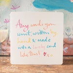 Personalised Words Greeting card, hand rendered text that you choose for this blank greeting card, hand lettering transformed in your words