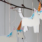 Little wooden Christmas unicorn, Christmas stocking gift, glittery hat, sparkle, tree decoration for horse lovers, unicorn tree decoration
