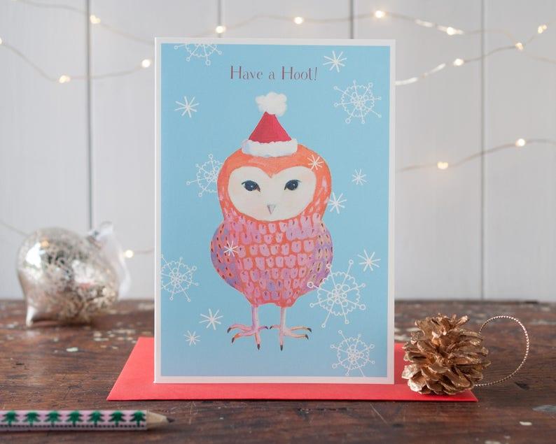 Owl Christmas card funny christmas card party animal have a image 0