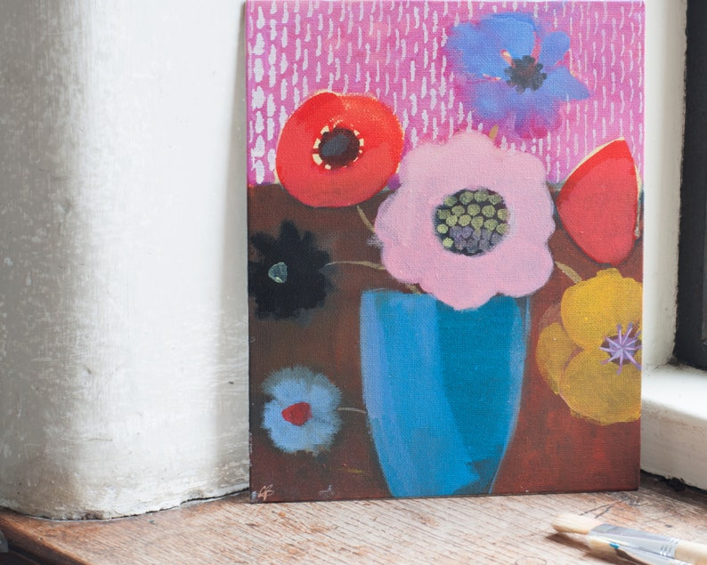 A simple floral still life painting in acrylic on canvas of image 0
