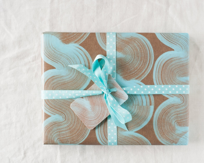 pale blue stripey wrapping paper  gift wrap sheet  eco image 0