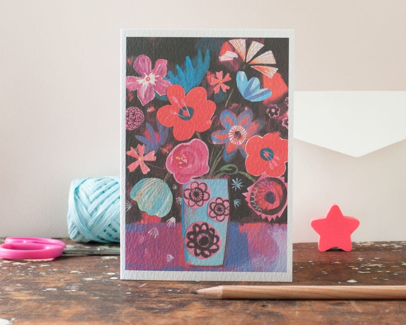 collaged flower greeting card red collage art card blank image 0