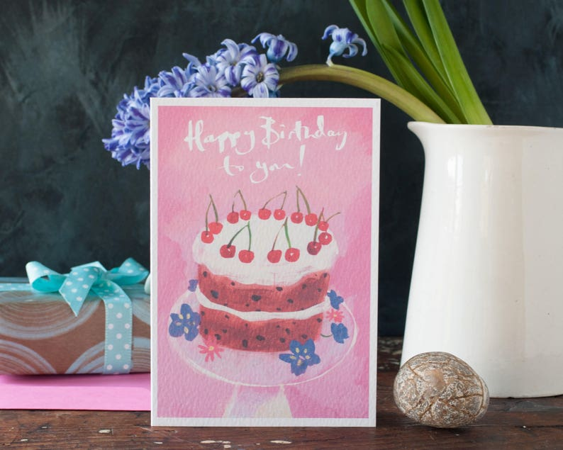Birthday Cake Card Pink For Her A Best Friend