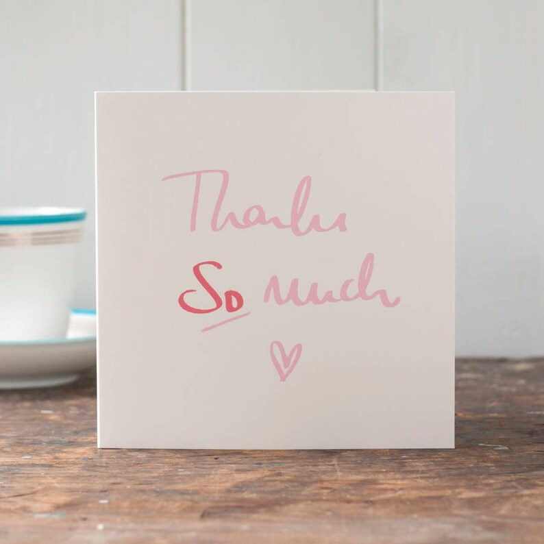 Thank you card Thanks so much greeting card with a heart on image 0