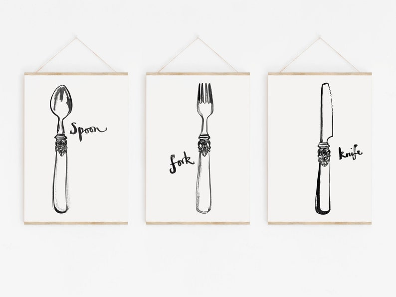 Kitchen art prints  unframed  Knife  fork  spoon  wall image 0