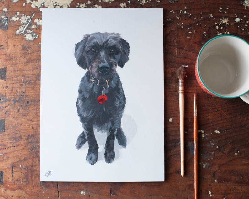 Cat Dog or pet portrait hand painted from your photograph image 0