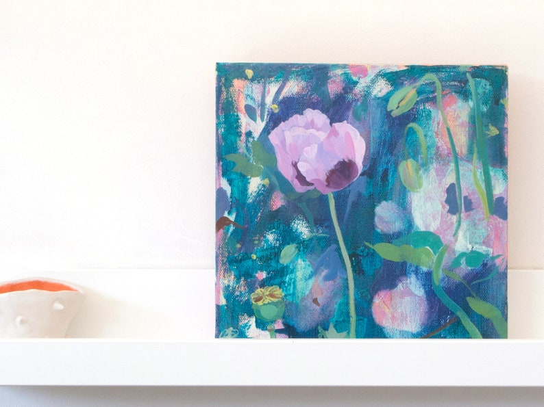 A floral painting of a pale pink opium poppy in the garden image 0