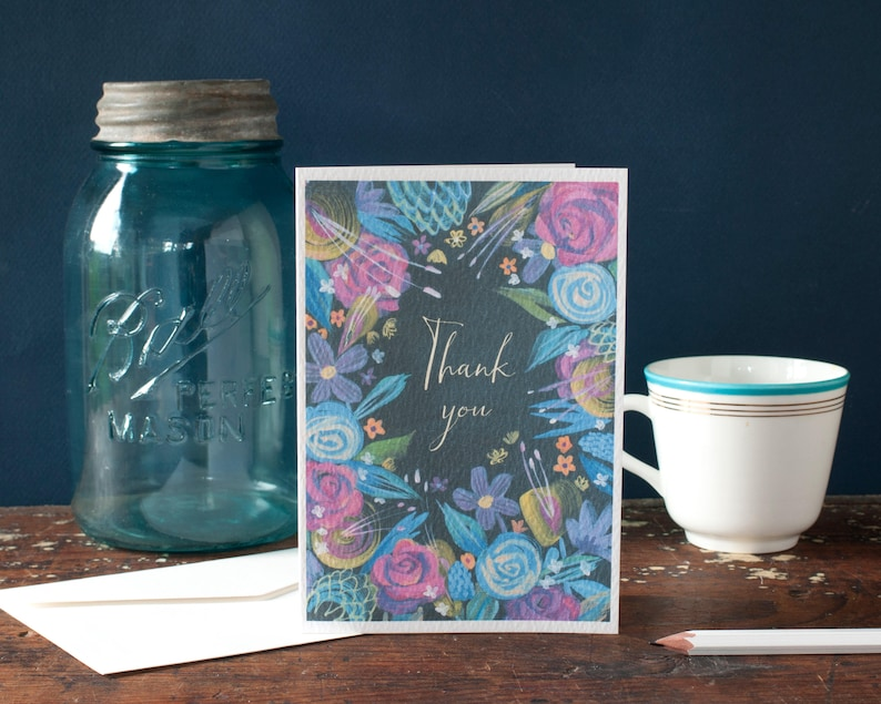 Thank you card floral thank you stationery set of cards image 0