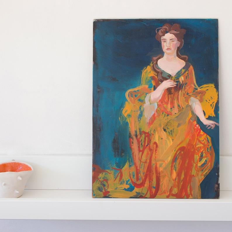 Queen Anne Portrait Painting per raphaelite style acrylic image 0