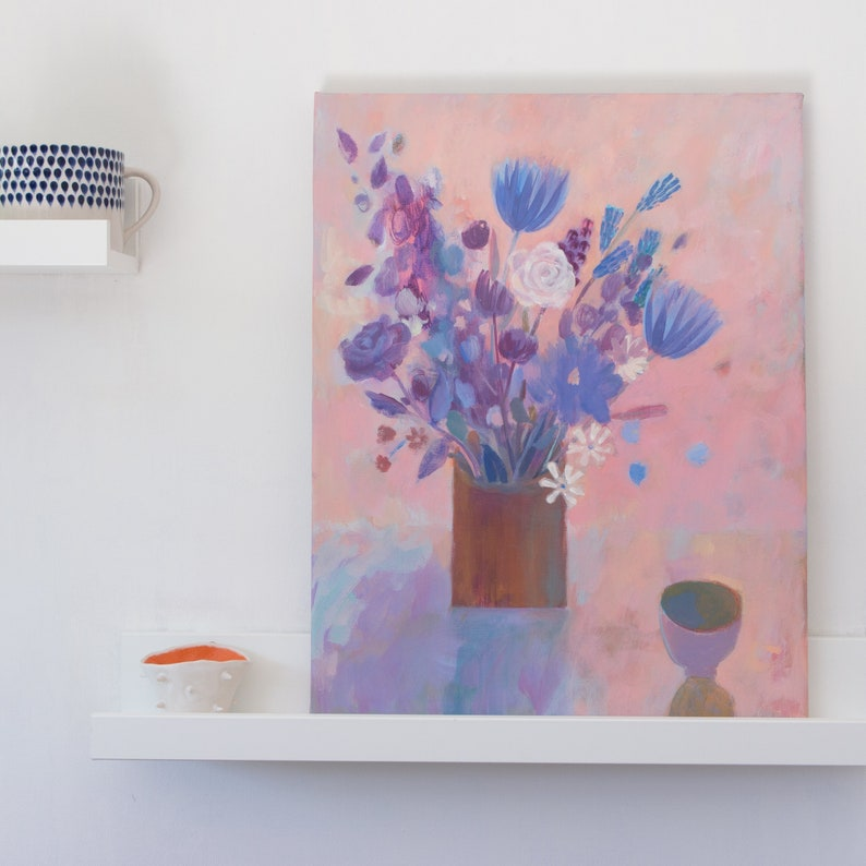 An acrylic still life painting of flowers and a small ceramic image 0