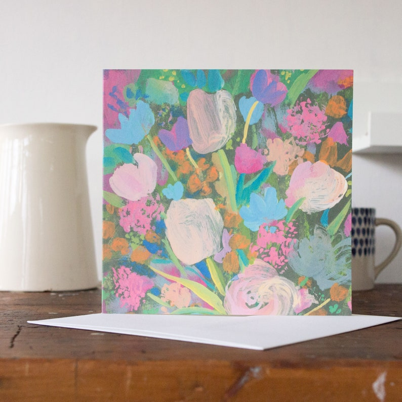 Bunch of flowers greeting card blank inside for your own image 0