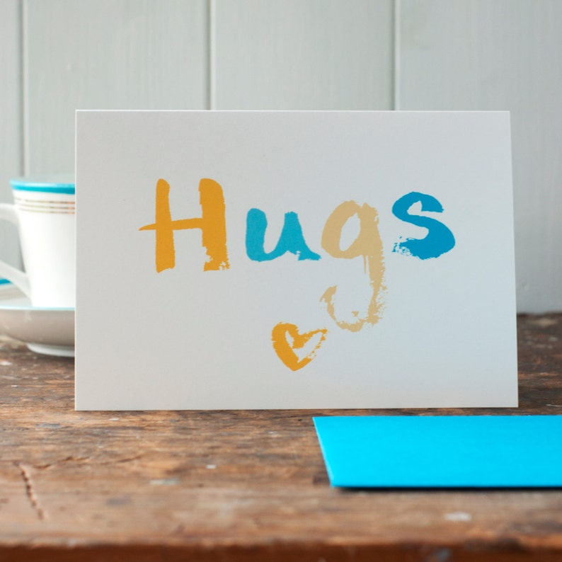 Hugs-a thinking of you or Get well soon card or empathy or image 0