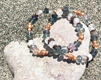 Fluorite // African Bloodstone Crystal & Copper Bracelets