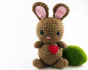 Amigurumi Bunny, Crocheted Handmade Love Bunny
